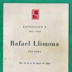 Arte: CATALOGO / INVITACION - EXPOSICION - RAFAEL LLIMONA - SALA PARES / BCN - AÑO 1942. Lote 44852598