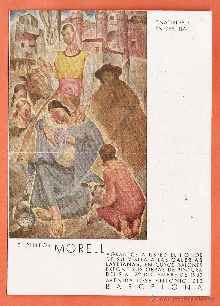 CATALOGO / INVITACION - EXPOSICION PINTURAS - MORELL - GALERIAS LAYETANAS / BCN - AÑO 1939 (Arte - Catálogos)