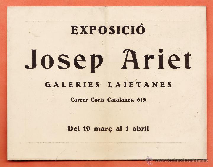 CATALOGO / INVITACION - EXPOSICIO PINTURES - JOSEP ARIET - GALERIES LAIETANES / BCN - AÑO 1932 (Arte - Catálogos)