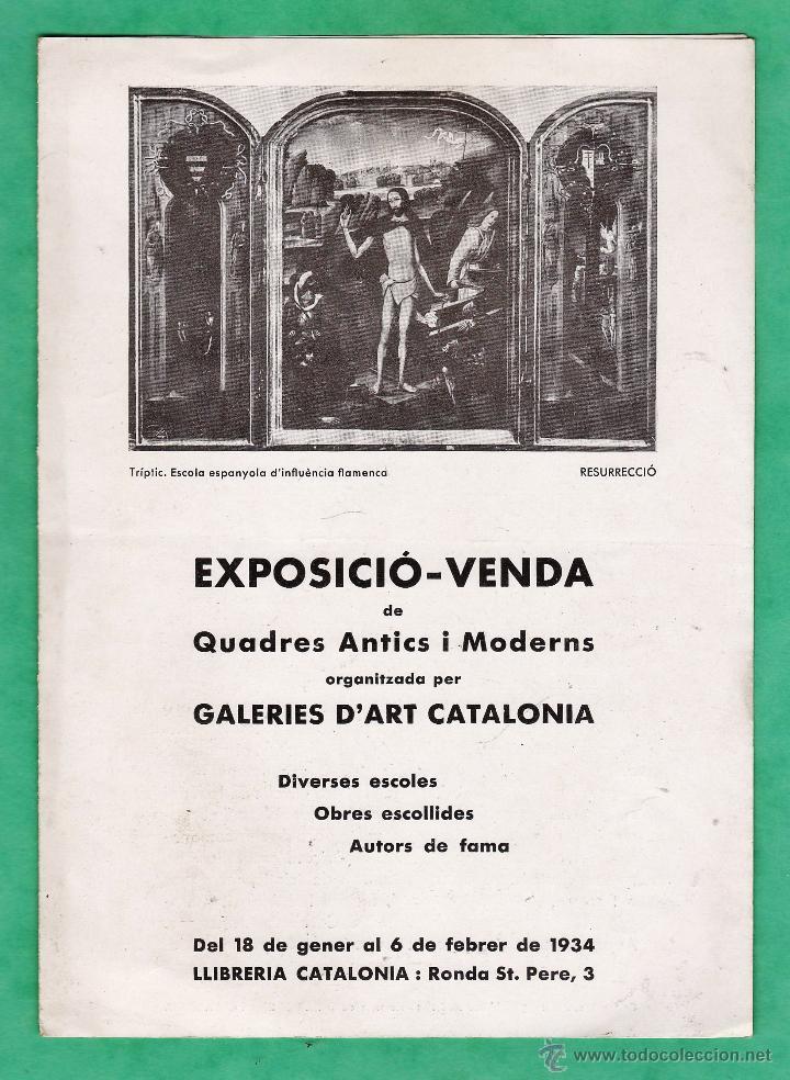 CATALOGO / INVITACION - EXPOSICIO I VENDA OBRES D'ART - GALERIES CATALONIA / BCN - AÑO 1934 (Arte - Catálogos)