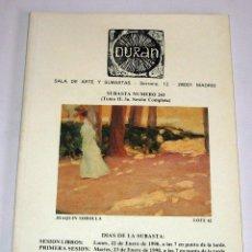 Arte: CATALOGO DE SUBASTAS DURAN NUMERO 243 ENERO 1990. Lote 45117496