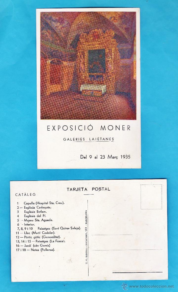 CATALOGO / INVITACION / POSTAL - EXPOSICIO PINTURES DE MONER - GALERIES LAIETANES / BCN - AÑO 1935 (Arte - Catálogos)