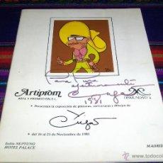 Arte: CATÁLOGO EXPOSICIÓN PINTURAS CARICATURAS DIBUJOS XAVIER CUGAT CON AUTÓGRAFO HOTEL PALACE 1981 MADRID. Lote 46892362