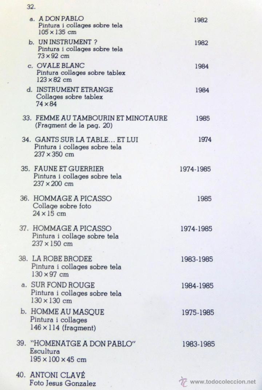 Arte: Pintor Antoni Clavé, Homenaje a Picasso, Sala Gaspar de Barcelona, año 1985. - Foto 11 - 45036028