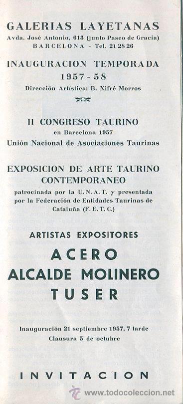 TAUROMAQUIA. ARTE TAURINO. TRIPTICO EXPOSICIÓN GALERIAS LAYETANAS . BARCELONA. 1957 (Arte - Catálogos)