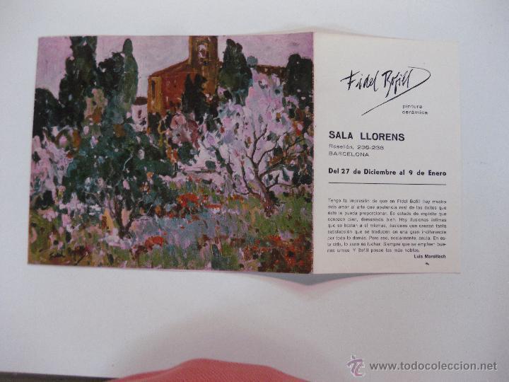 FIDEL BOFILL. SALA LLORENS 27 DICIEMBRE AL 9 ENERO.1974. (Arte - Catálogos)