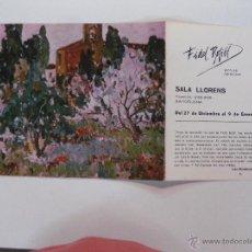Arte: FIDEL BOFILL. SALA LLORENS 27 DICIEMBRE AL 9 ENERO.1974.. Lote 49353459