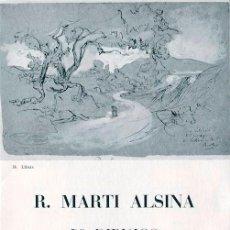 Arte: MARTI ALSINA. 5O DIBUJOS .DIPTICO EXPOSICIÓN SALA PARÈS. BARCELONA. 1970. Lote 49654699
