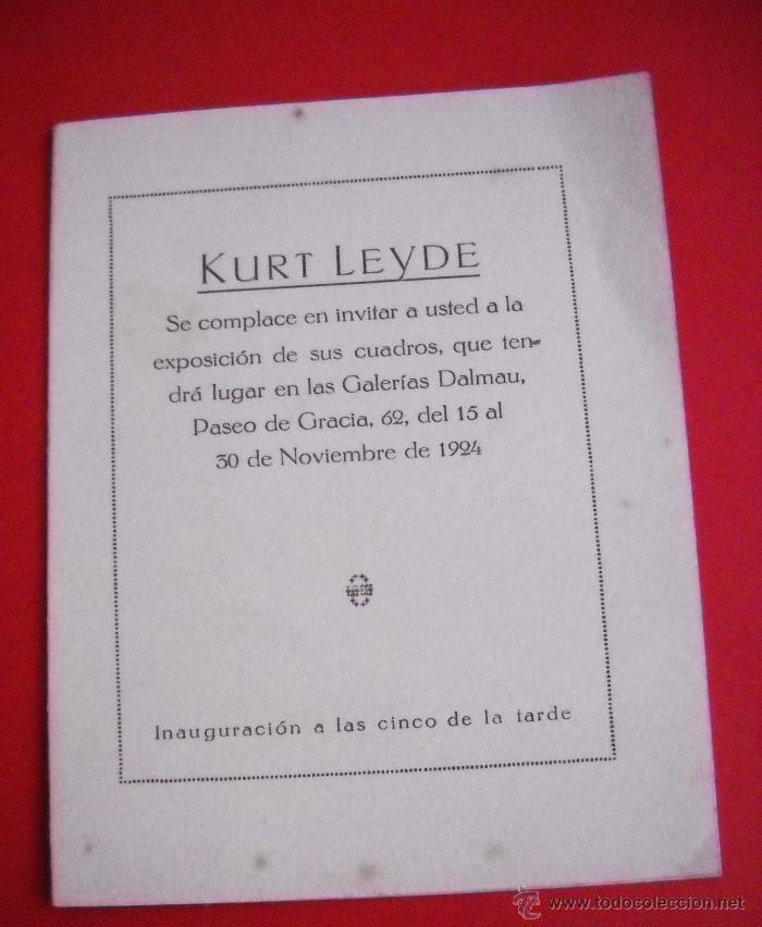 KURT LEYDE - GALERIAS DALMAU - 1924 (Arte - Catálogos)