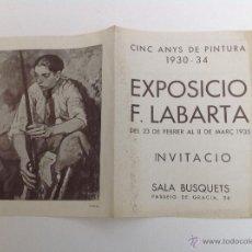 Arte: SALA BUSQUETS. PASSEIG DE GRÀCIA. EXPOSICIÓ F. LABARTA. BARCELONA 1935. Lote 50119297