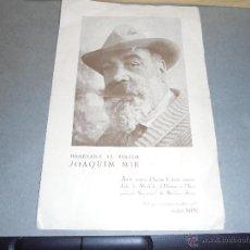 Arte: JOAQUIM MIR - HOMENTGE AL PINTOR - VILANOVA I GELTRÚ 6 JULIOL 1930 JOSP NIN - APELES MESTRES . AMB . Lote 52626969