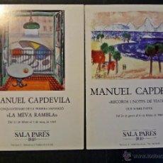 Arte: 2 CATÁLOGOS DE MANUEL CAPDEVILA , AÑO 1984 Y 1985. SALA PARÉS DE BARCELONA. VER COMENTARIOS. Lote 52901530
