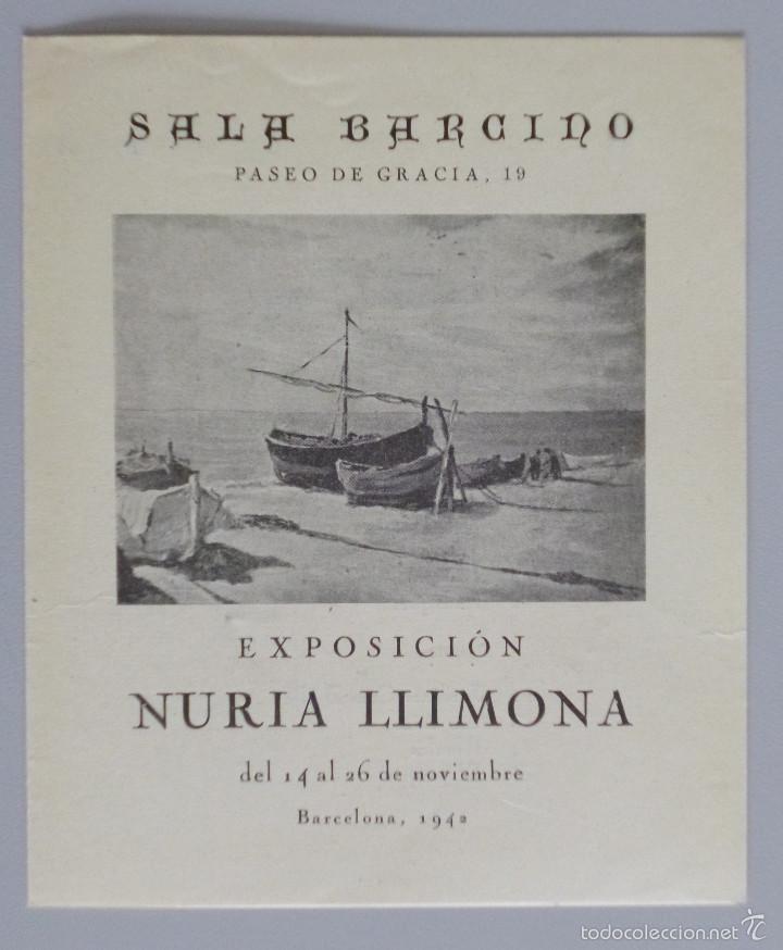 INVITACIÓN // CATÁLOGO EXPOSICIÓN // NURIA LLIMONA // 1942 // SALA BARCINO // BARCELONA (Arte - Catálogos)