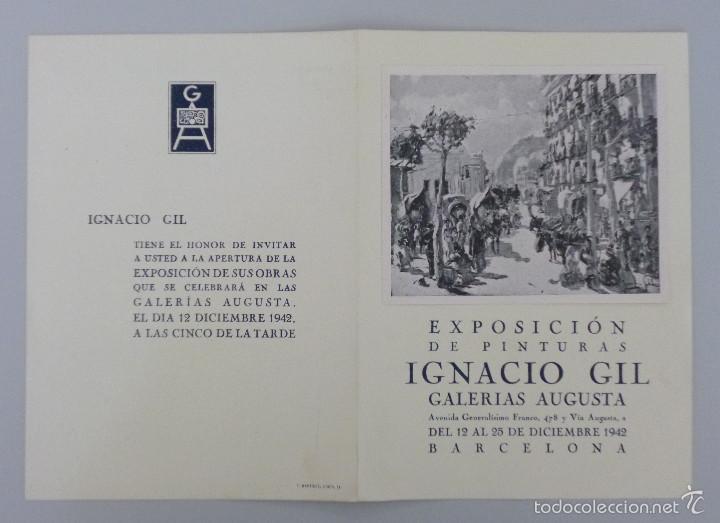 INVITACIÓN // CATÁLOGO ARTE // IGNACIO GIL // PINTURAS // GALERIAS AUGUSTA // 1942 // BARCELONA (Arte - Catálogos)