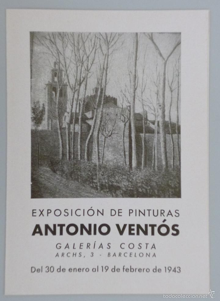 INVITACIÓN // CATÁLOGO EXPOSICIÓN // ANTONIO VENTÓS // 1943 // GALERÍAS COSTA // BARCELONA (Arte - Catálogos)