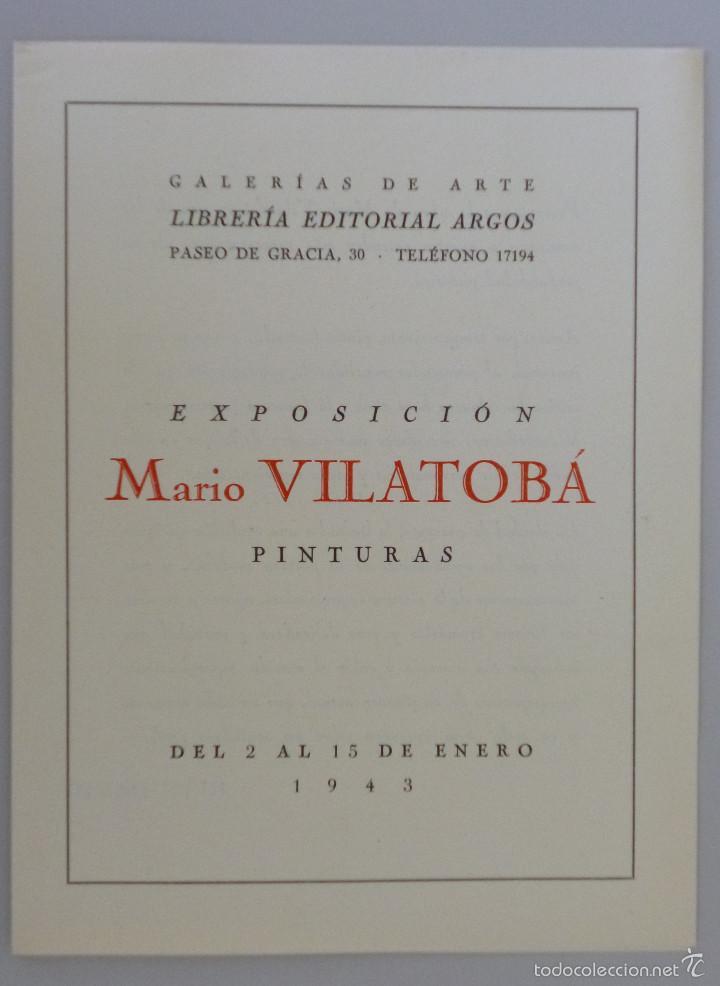 INVITACIÓN // CATÁLOGO EXPOSICIÓN // MARIO VILATOBÁ // 1943 // GALERIAS ARGO // BARCELONA (Arte - Catálogos)