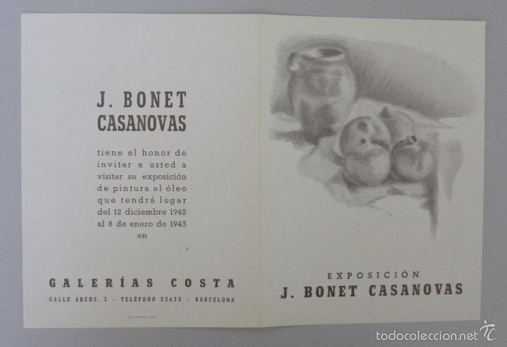 INVITACIÓN // CATÁLOGO EXPOSICIÓN // BONET CASANOVAS // 1943 // GALERÍAS COSTA // BARCELONA (Arte - Catálogos)