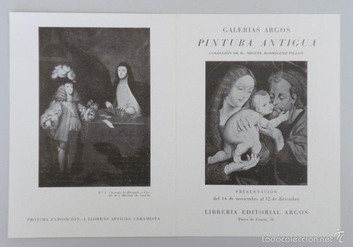 INVITACIÓN // CATÁLOGO EXPOSICIÓN // PINTURA ANTIGUA // GALERIAS ARGOS // AÑOS 40 // BARCELONA (Arte - Catálogos)