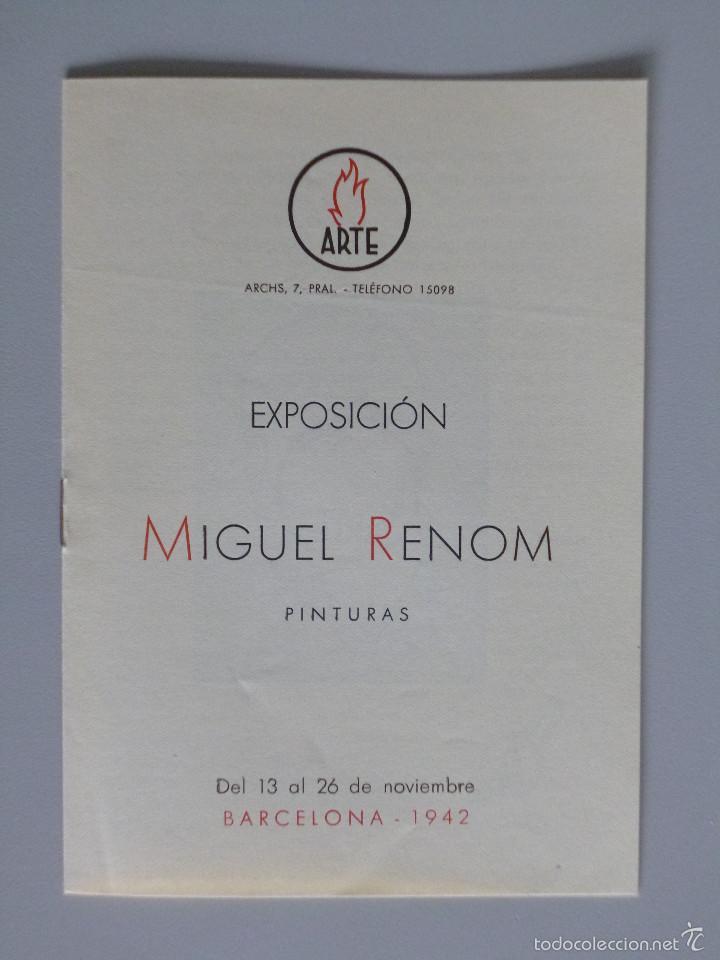 INVITACIÓN // CATÁLOGO EXPOSICIÓN // MIGUEL RENOM // PINTURAS // 1942 // BARCELONA // SALA ARTE (Arte - Catálogos)