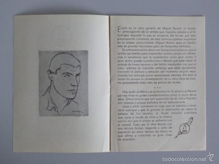Arte: INVITACIÓN // CATÁLOGO EXPOSICIÓN // MIGUEL RENOM // PINTURAS // 1942 // BARCELONA // SALA ARTE - Foto 2 - 58492358