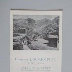 Arte: INVITACIÓN // CATÁLOGO EXPOSICIÓN // J. SOLER PUIG // PINTURAS // 1942 // GAL. AUGUSTA // BARCELONA. Lote 58492441