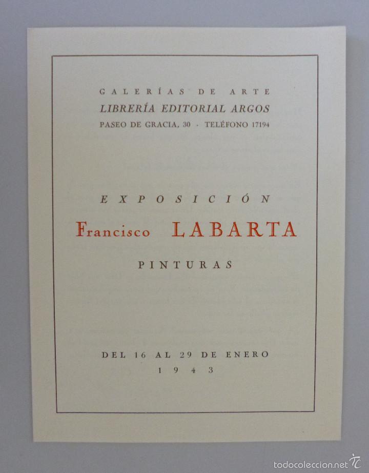 INVITACIÓN // CATÁLOGO EXPOSICIÓN // FRANCISCO LABARTA // GALERIA ARGOS // 1943 // BARCELONA (Arte - Catálogos)