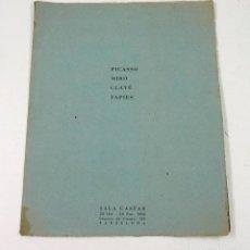 Arte: PICASSO, MIRÓ, CLAVÉ, TÀPIES. SALA GASPAR, 20OCT-20 NOV. 1962, BARCELONA. 18,5X23,6 CM. 2 PAG. VER . Lote 78632049