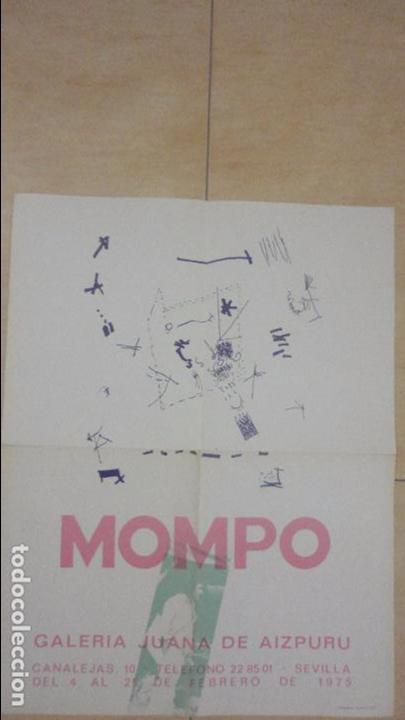 ANTIGUO CARTEL EXPOSICION.MOMPO.GALERIA JUANA AIZPURU.SEVILLA.1975 (Arte - Catálogos)
