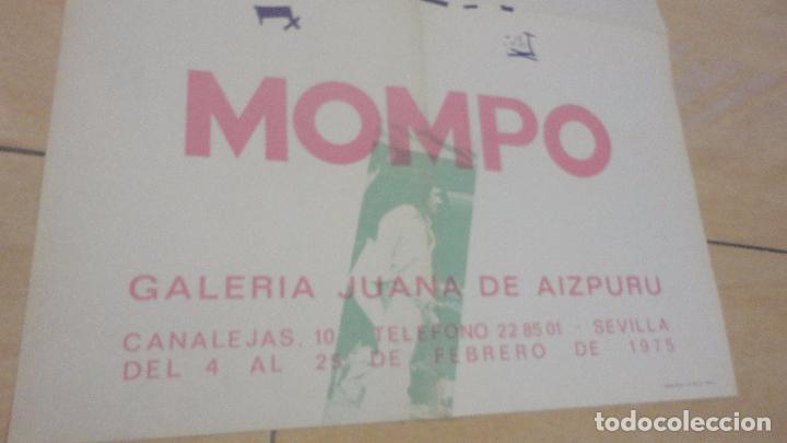 Arte: ANTIGUO CARTEL EXPOSICION.MOMPO.GALERIA JUANA AIZPURU.SEVILLA.1975 - Foto 2 - 82351864
