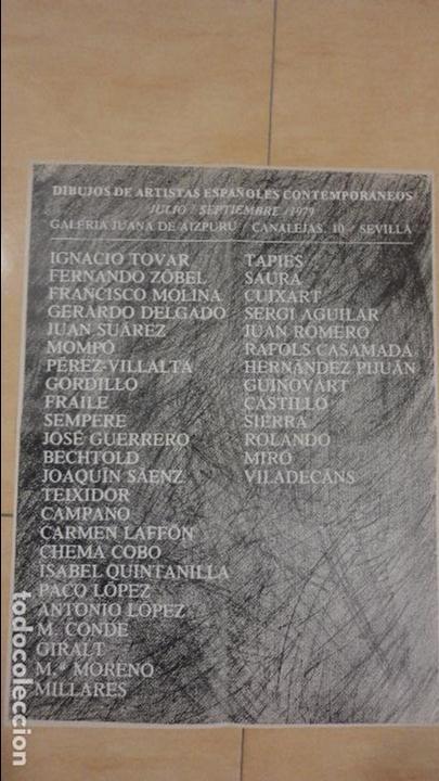 CARTEL EXPOSICION DIBUJOS ESPAÑOLES.GALERIA JUANA AIZPURU.SEVILLA.1979.MIRO.TAPIES.CUIXART.MOMPO. (Arte - Catálogos)