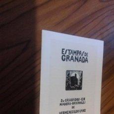 Arte: ESTAMPAS DE GRANADA. CATÁLOGO DE LA EXPOSICIÓN 20 GRABADOS DE HERMENEGILDO LANZ. CUADRÍPTICO. RARO. Lote 85467996