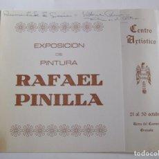 Arte: FOLLETO INVITACION EXPOSICION DIPTICO - RAFAEL PINILLA - 1975 - GRANADA. Lote 85242332