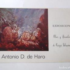 Arte: ANTONIO D. DE HARO - FOLLETO DIPTICO EXPOSICION - 1975 - CENTRO ARTISTICO GRANADA. Lote 85431252