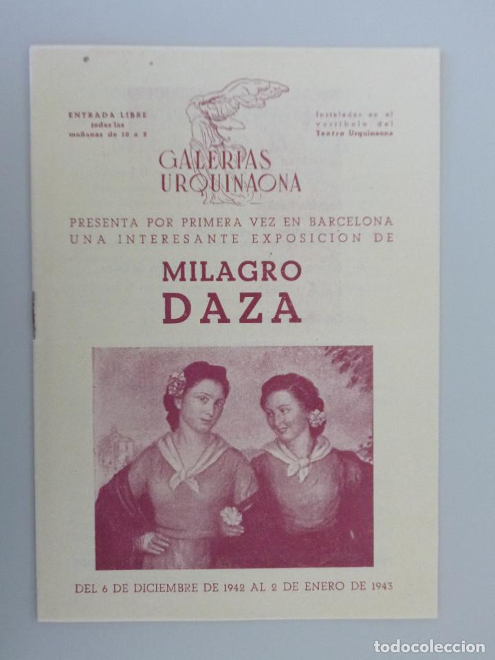 MILAGRO DAZA // INVITACION CATÁLOGO EXPOSICIÓN // 1943 // GALERIAS URQUINAONA // BARCELONA (Arte - Catálogos)