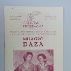 Arte: MILAGRO DAZA // INVITACION CATÁLOGO EXPOSICIÓN // 1943 // GALERIAS URQUINAONA // BARCELONA. Lote 86938036