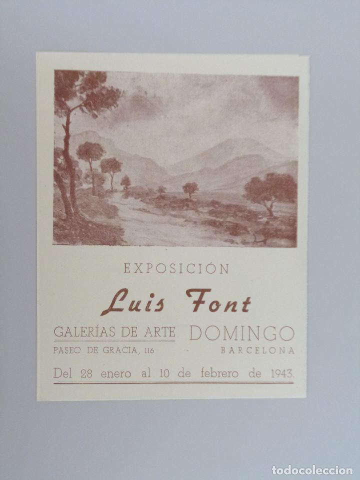 LUIS FONT // INVITACIÓN CATÁLOGO EXPOSICIÓN // GALERIAS DE ARTE DOMINGO // BARCELONA // 1943 (Arte - Catálogos)