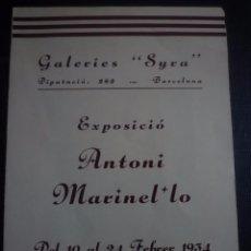 Arte: ANTONI MARINEL.LO. DIPTICO EXPOSICIÓN SYRA GALERIES D' ART. BARCELONA 1934. Lote 91345780