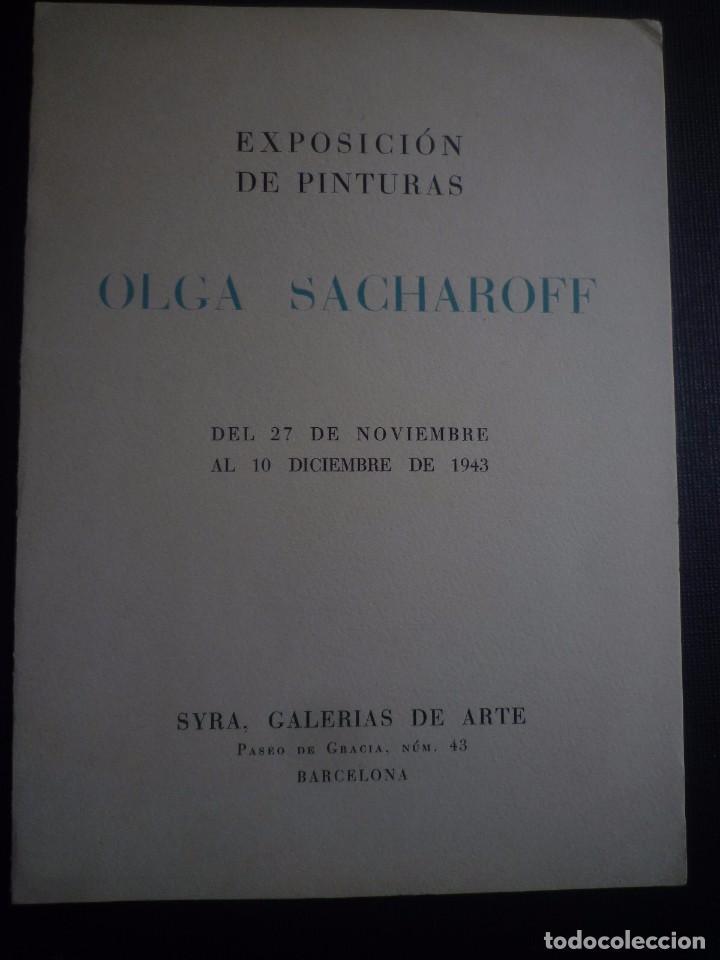 OLGA SACHAROFF. DIPTICO EXPOSICIÓN SYRA, GALERIAS DE ARTE, BARCELONA 1943 (Arte - Catálogos)