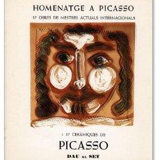 Arte: CATÁLOGO Y TARJETA DE LA EXPOSICIÓN 'HOMENATGE A PICASSO' EN LA GALERÍA DAU AL SET, BARCELONA (1977). Lote 93884185