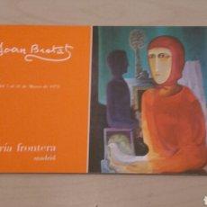 Arte: JOAN BROTAT. EXPOSICIÓN EN GALERÍA FRONTERA MADRID (MARZO 1975).. Lote 95962424