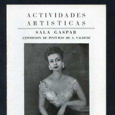 Arte: *ALVE VALDEMI DEL MARE* SALA GASPAR, BCN NOV. 1946. 8 PGS. 2 FOTOS B/N. MEDS: 122 X 168 MMS.. Lote 101458723