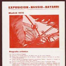 Arte: NASSIO BAYARRI - CUARTILLA EXPOSICIÓN EN MADRID, 1970 – TEXTO DE JOSÉ HIERRO. Lote 101472755