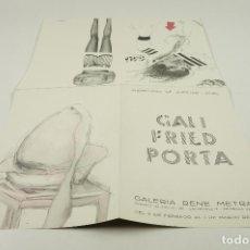 Arte: GALI, FRIED, PORTA, GALERIA RENE METRAS, 1966, BARCELONA. 16X23CM. Lote 104120499