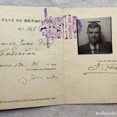 Arte: CARNET DE EXPOSITOR DE JOAN FORT GALCERÁN EN LA EXPOSICIÓN NACIONAL DE BELLAS ARTES BARCELONA 1944. Lote 111511559