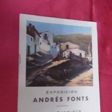 Arte: DÍPTICO. CATALOGO. EXPOSICIÓN. ANDRÉS FONTS. SALA BUSQUETS. BARCELONA. 1948. Lote 113341415