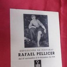 Arte: DÍPTICO. CATALOGO. EXPOSICIÓN DE PINTURAS. RAFAEL PELLICER. GALERIAS AUGUSTA. BARCELONA. 1948. Lote 113342567