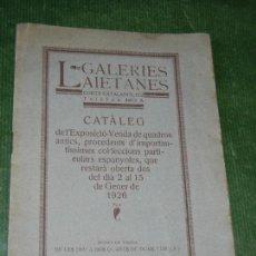 Arte: CATALEG GALERIES LAIETANES AÑO 1926 / EXPOSICION Y VENTA CUADROS / MURILLO - RIBERA - JORDAENS. Lote 116832591