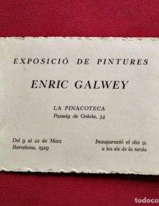 1929 Enric Galwey. Exposició de pintures. La pinacoteca.