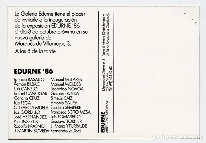 Arte: Tarjeta invitación a la inauguración de la nueva Galería Edurne, Madrid, octubre 1986 – 10 x 15 cm - Foto 2 - 119049927