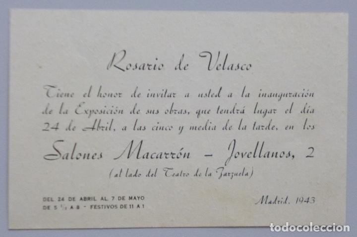 ROSARIO DE VELASCO // TARJETA INVITACIÓN EXPOSICIÓN // 1943 // SALONES MACARRON // MADRID (Arte - Catálogos)